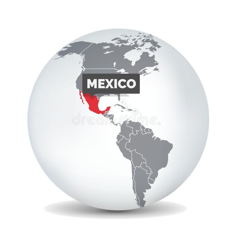 Carte de globe du monde avec l'identication du Mexique Carte du Mexique illustration stock