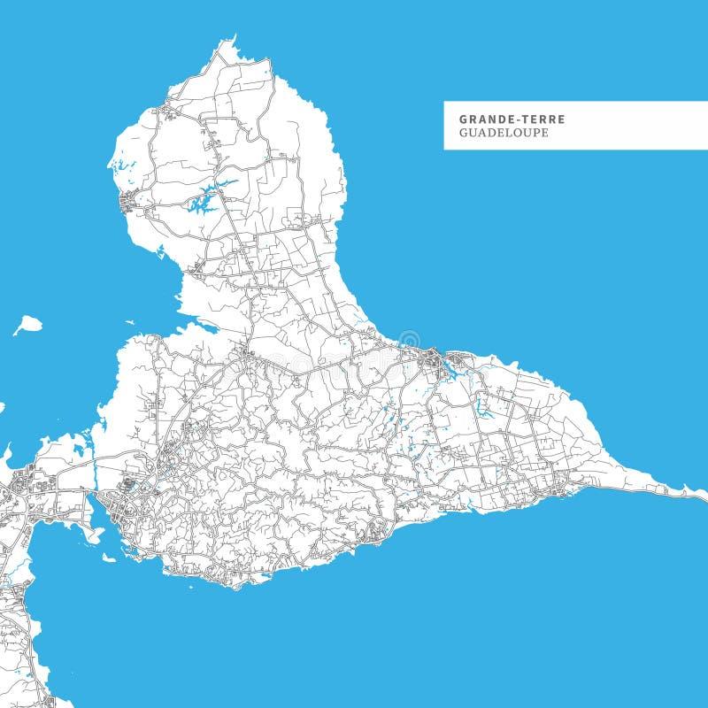 Carte de grande-Terre île illustration stock
