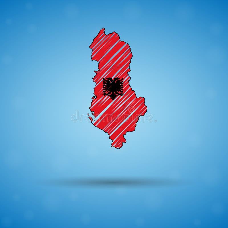 Carte de griffonnage de l'Albanie Carte de pays de croquis pour infographic, brochures et présentations, carte de croquis stylisé illustration stock
