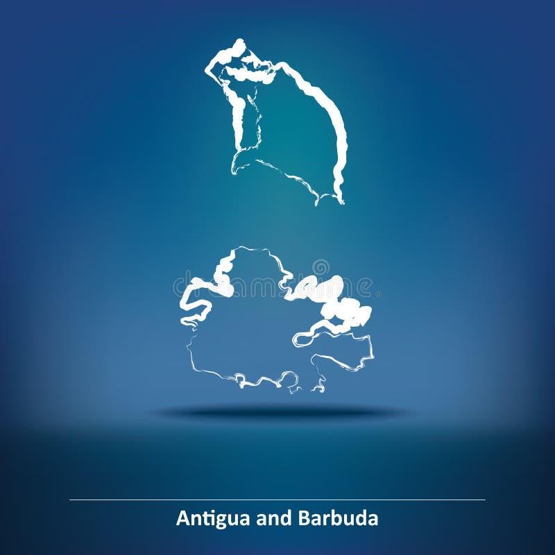 Carte de griffonnage de l'Antigua-et-Barbuda illustration libre de droits
