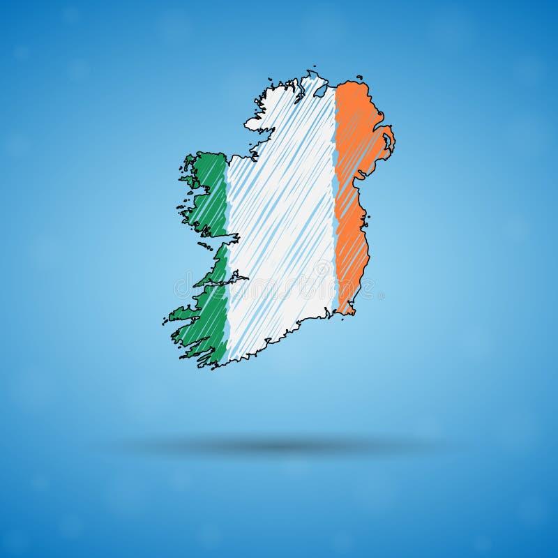 Carte de griffonnage de l'Irlande Carte de pays de croquis pour infographic, brochures et présentations, carte de croquis stylisé illustration libre de droits