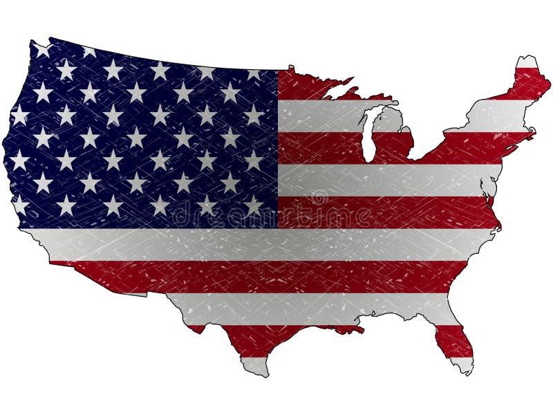 Carte de grunge des Etats-Unis illustration de vecteur