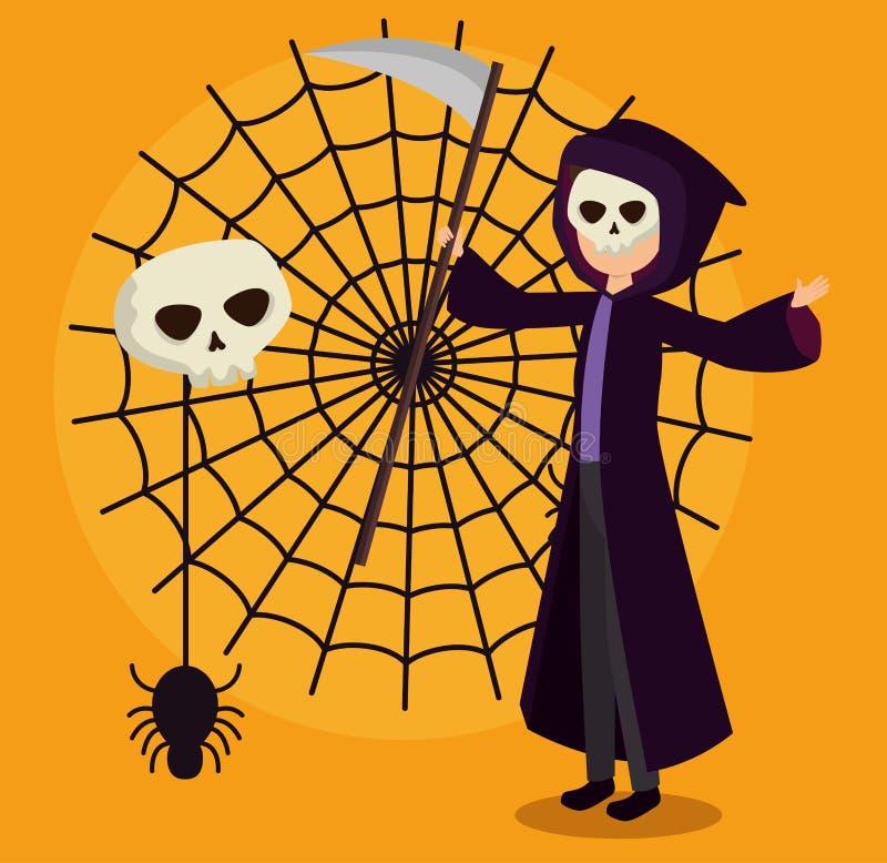 Carte de Halloween avec le déguisement de la mort et la toile d'araignée illustration libre de droits