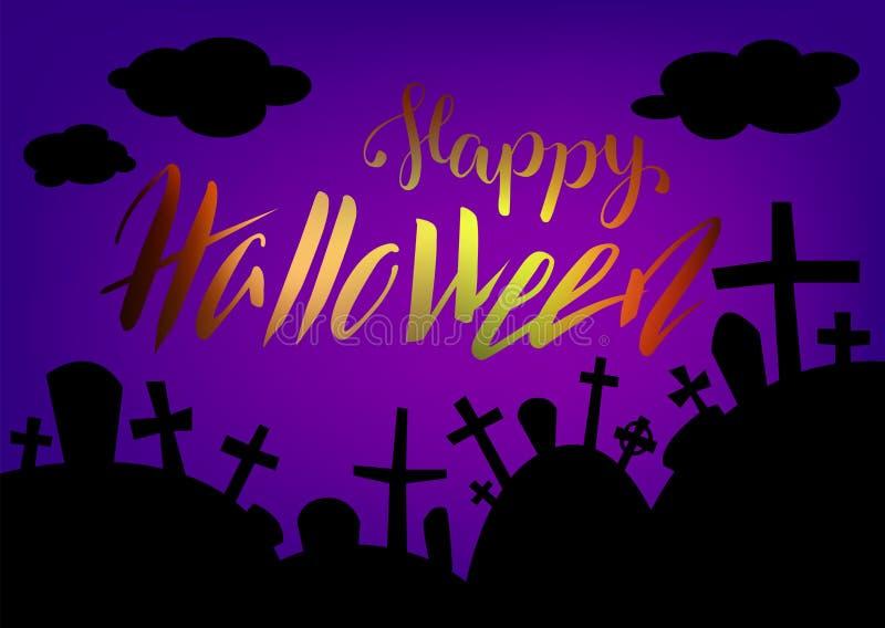 Carte de Halloween avec le paysage de lettrage et de cimetière par nuit Carte de voeux heureuse de Halloween illustration de vecteur