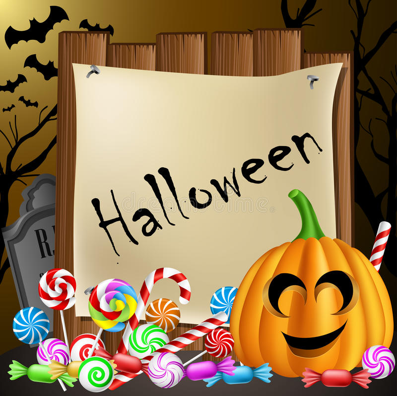 Carte de Halloween avec le potiron et les sucreries illustration stock