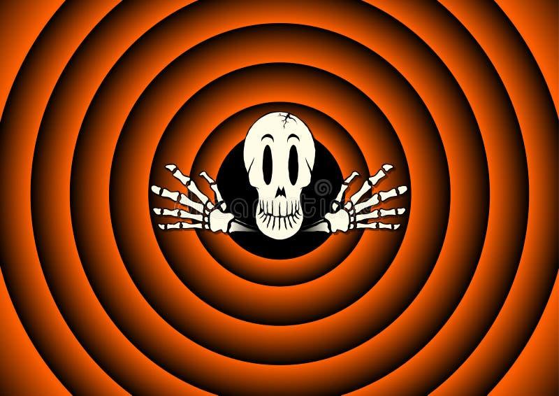Carte de Halloween avec le squelette illustration stock
