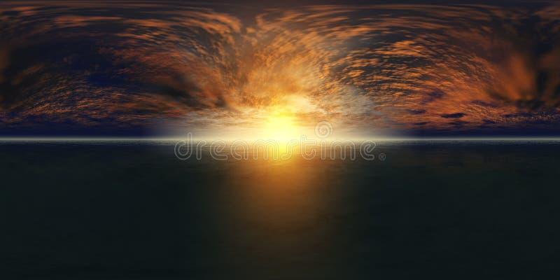 Carte de haute résolution de HDRI Panorama de coucher du soleil de mer, la vue du lever de soleil d'océan, coucher du soleil en m photos stock