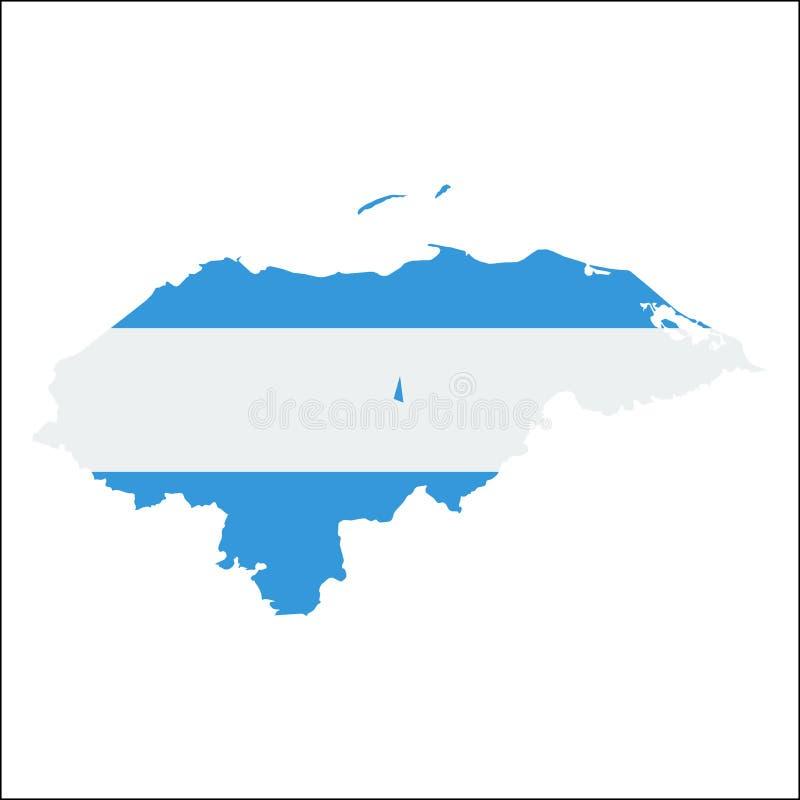 Carte de haute résolution du Honduras avec le drapeau national illustration stock