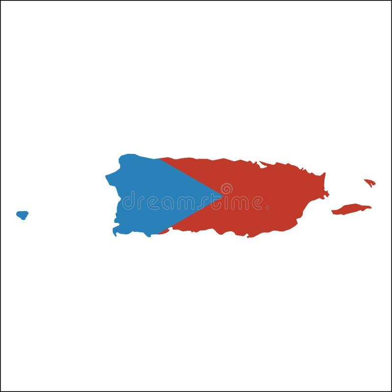 Carte de haute résolution du Porto Rico avec le ressortissant illustration stock