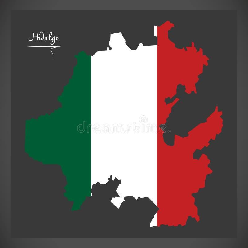 Carte de Hidalgo avec l'illustration mexicaine de drapeau national illustration de vecteur