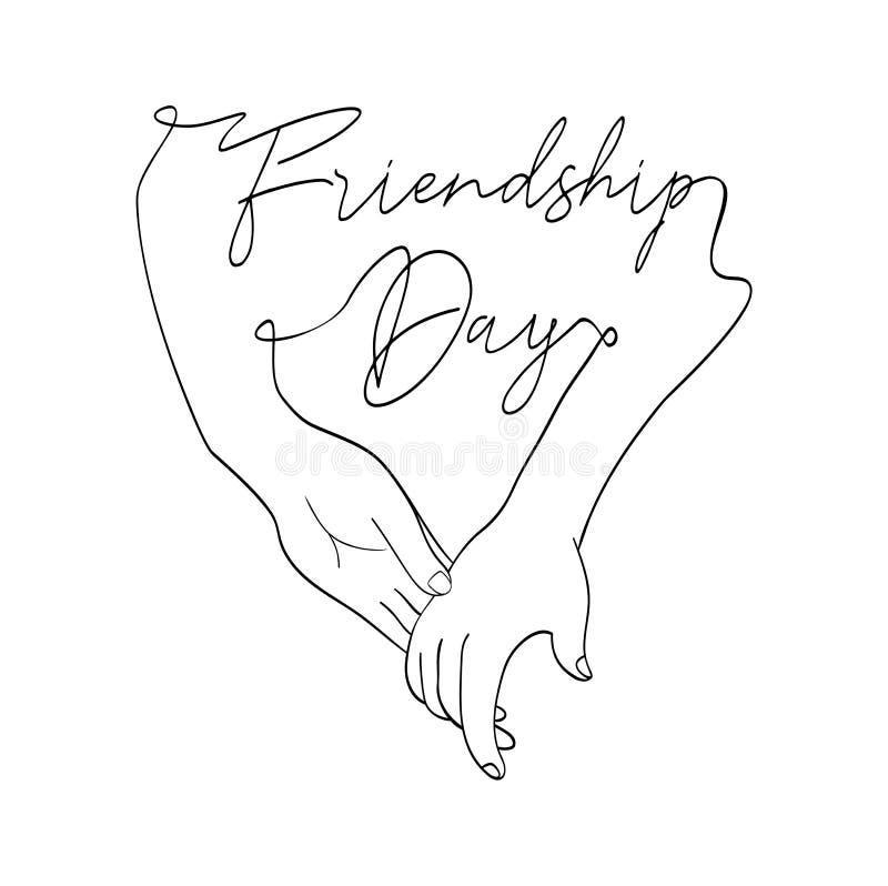 Carte de jour d'amitié des mains d'ami dans la ligne simple illustration de vecteur