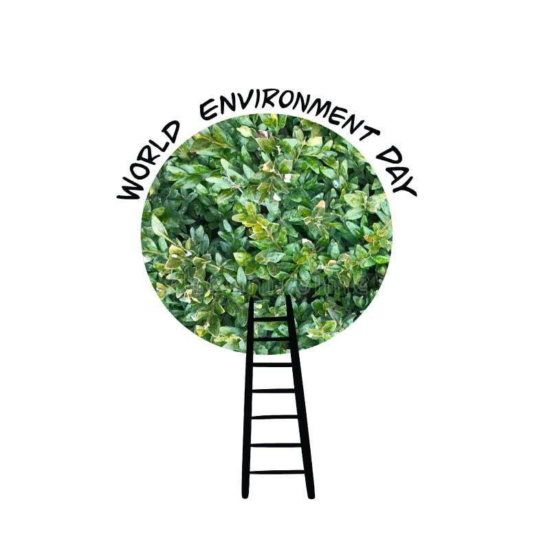 Carte de jour d'environnement du monde avec la couronne et les escaliers verts d'arbre illustration libre de droits