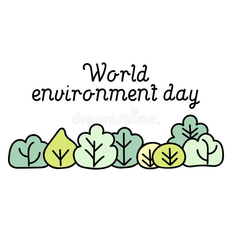 Carte de jour d'environnement du monde Fond avec des arbres de bande dessinée illustration libre de droits