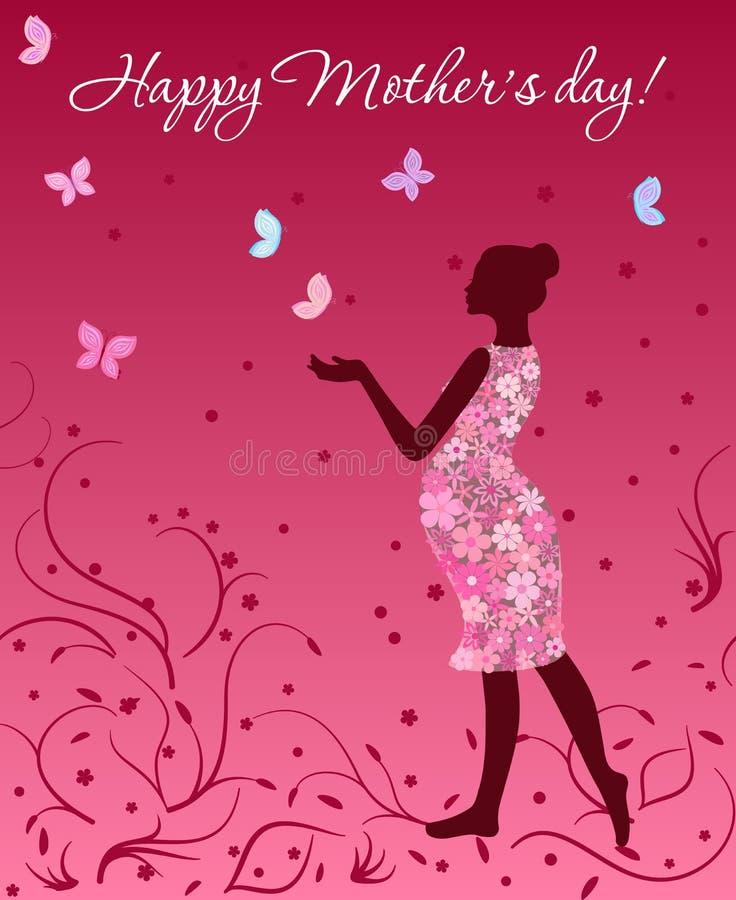 Carte de jour de mères avec la femme enceinte dans la robe florale avec des papillons sur le fond rose illustration libre de droits