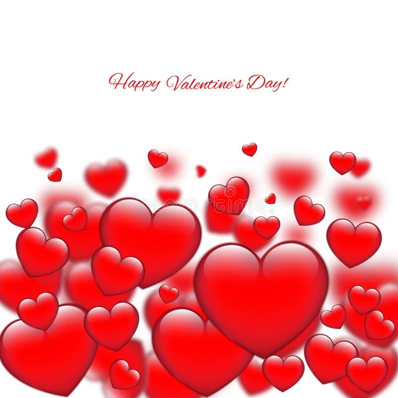 Carte de jour de Valentines avec des coeurs illustration de vecteur