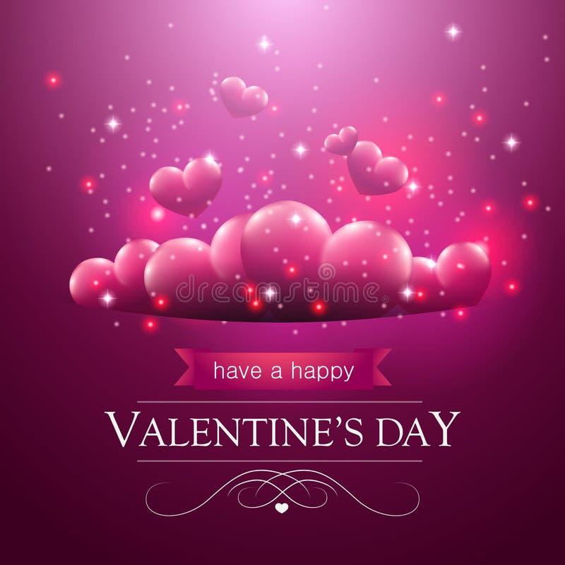 Carte de jour de valentines avec flotter les coeurs pourpres illustration libre de droits