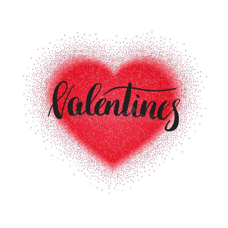 Carte de jour de valentines avec le coeur et la calligraphie rouges de scintillement illustration stock