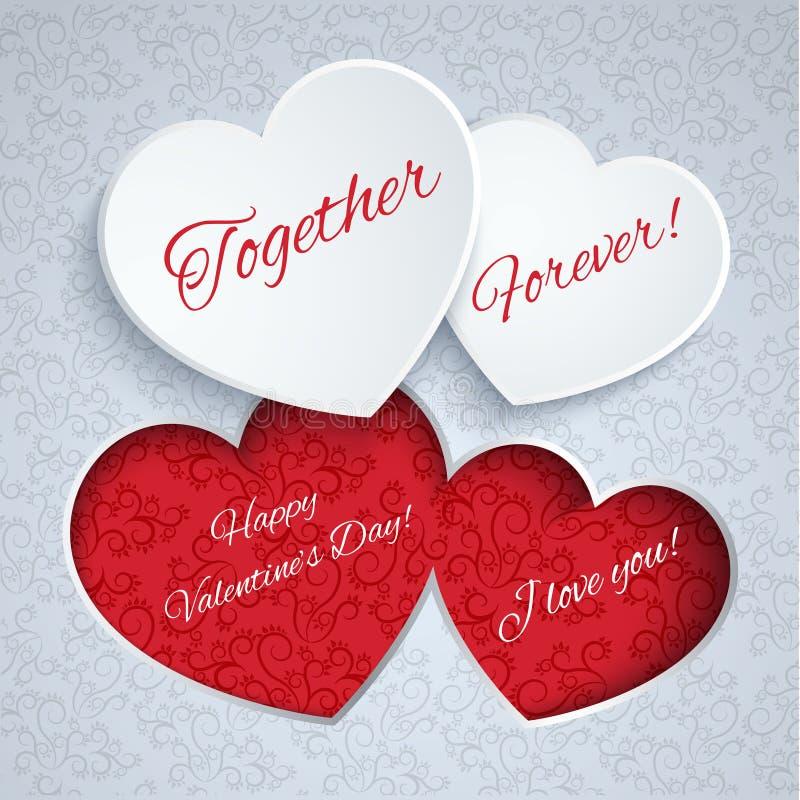 Carte de jour de valentines avec les coeurs de papier illustration libre de droits
