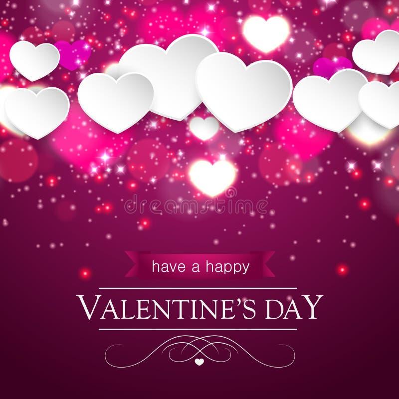 Carte de jour de valentines avec les coeurs et les étincelles brouillés illustration de vecteur