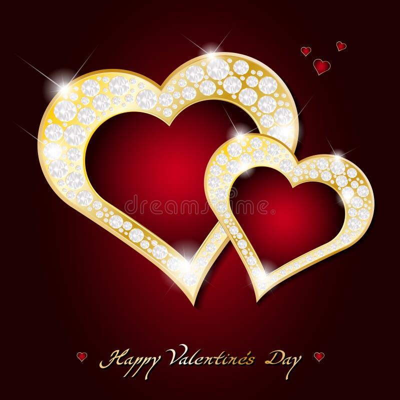 Carte de jour de valentines - coeurs d'or abstraits avec des diamants illustration stock