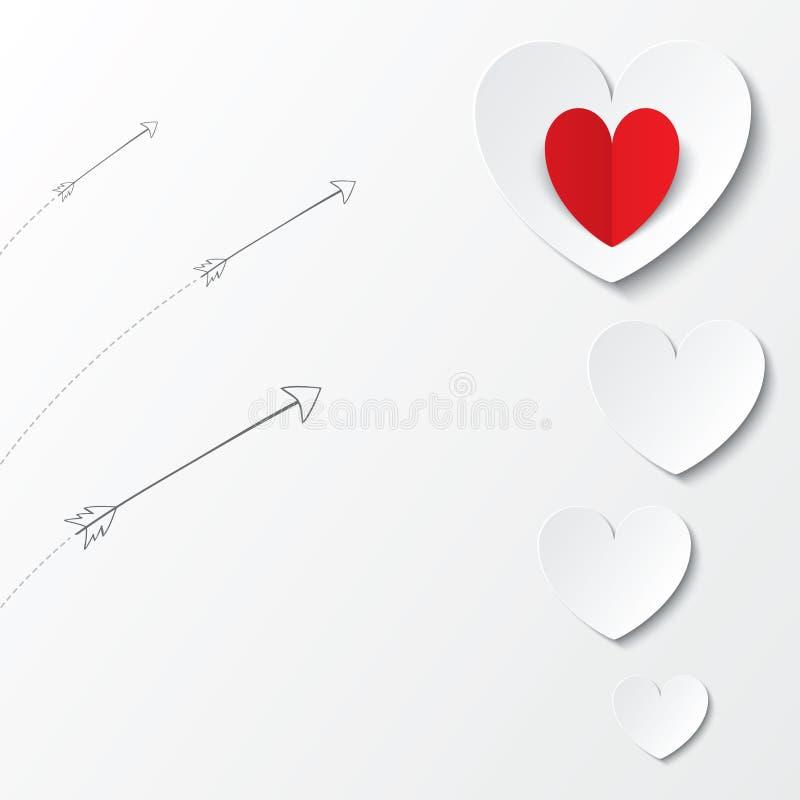Carte de jour de valentines de coeurs de livre blanc avec des flèches illustration de vecteur