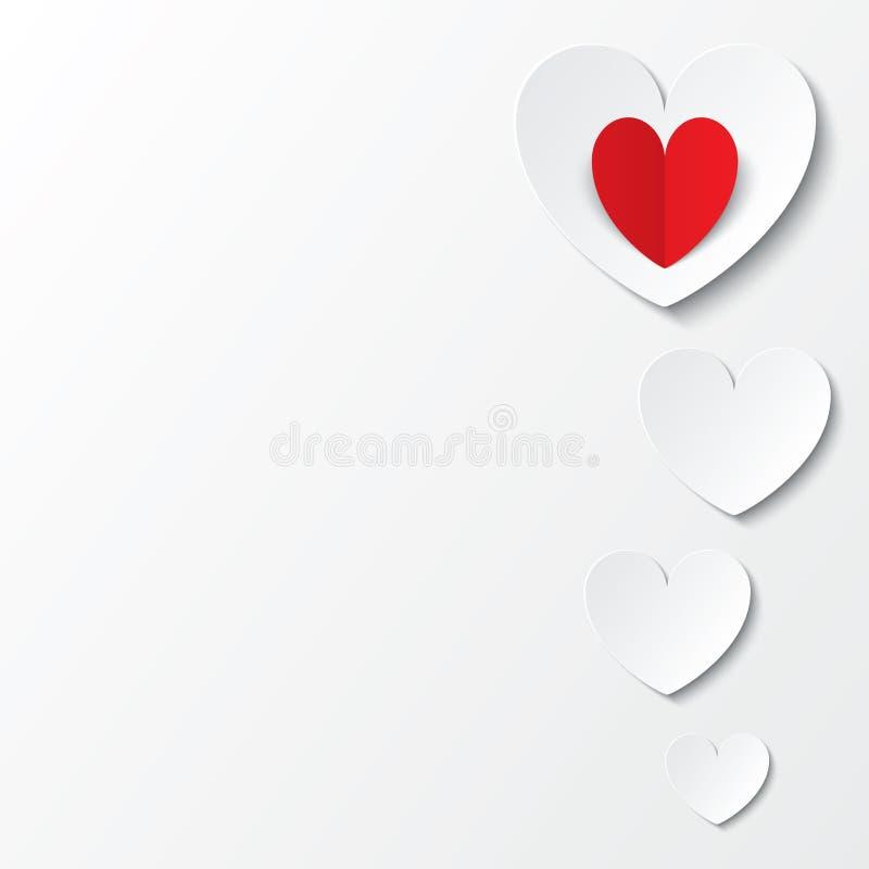 Carte de jour de valentines de coeurs de livre blanc sur le blanc illustration de vecteur
