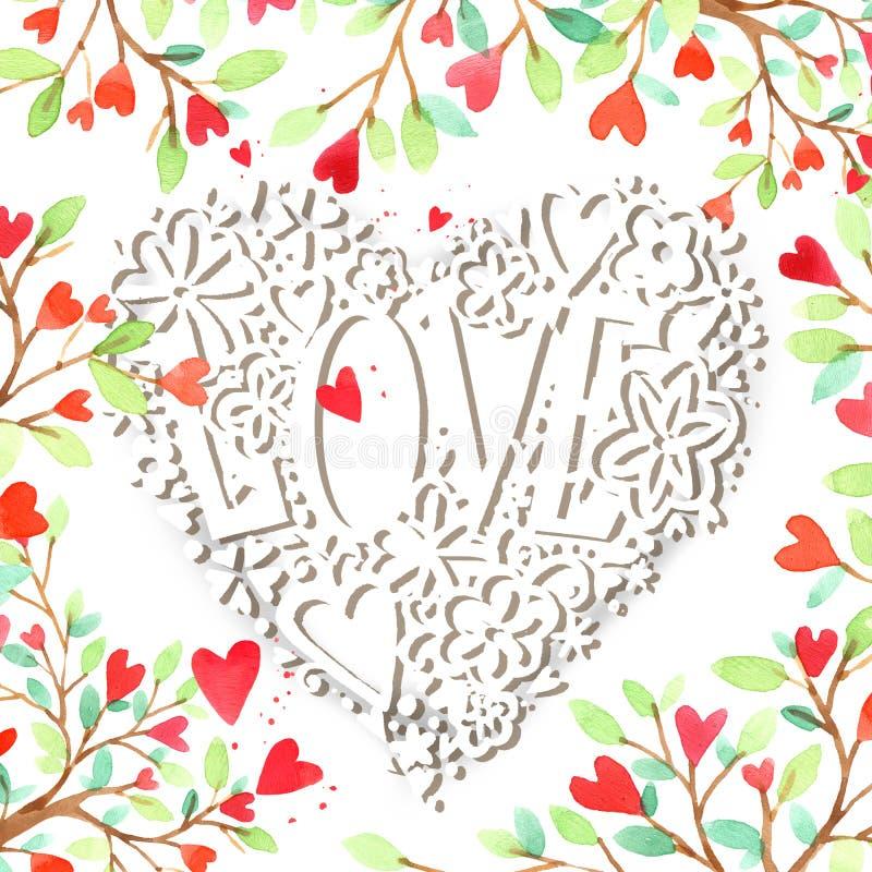 Carte de jour de Valentines images 3d d'isolement sur le fond blanc Fond de jour de Valentine illustration libre de droits