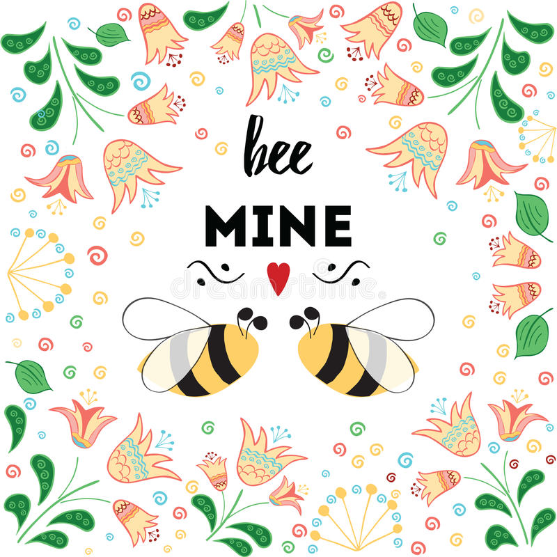 Carte de jour du ` s de St Valentine avec les fleurs de pré et l'abeille d'amour illustration stock