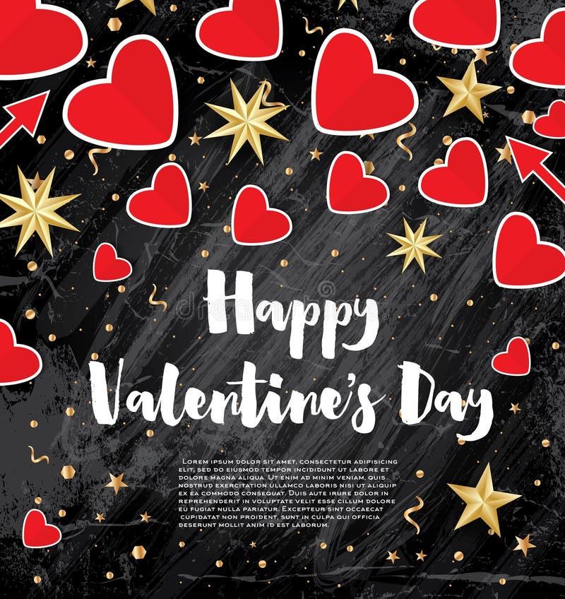 Carte de jour du ` s de Valentine avec les coeurs rouges et les étoiles d'or illustration de vecteur