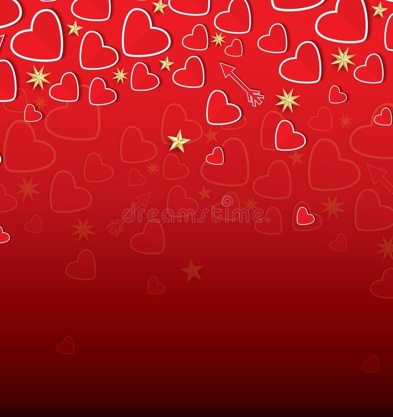 Carte de jour du ` s de Valentine avec les coeurs rouges et les étoiles d'or illustration libre de droits