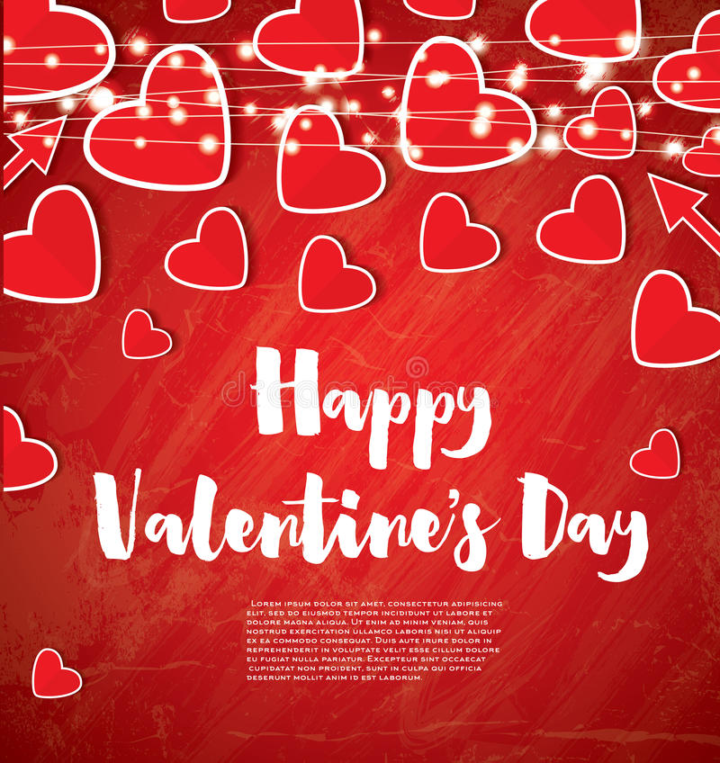 Carte de jour du ` s de Valentine avec les coeurs rouges et les guirlandes au néon illustration stock