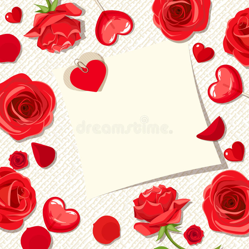 Carte de jour du ` s de Valentine avec les roses rouges et les coeurs Vecteur EPS-10 illustration de vecteur