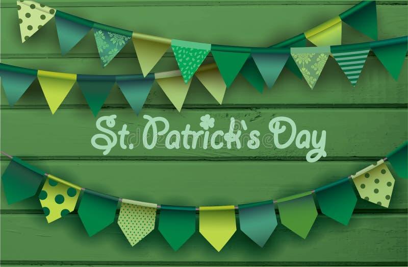 Carte de jour du `s de rue patrick Guirlandes de papier colorées sur le fond en bois vert illustration stock