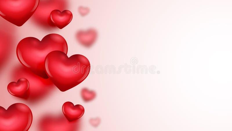 Carte de jour du ` s de Valentine avec l'illustration de coeurs photos stock