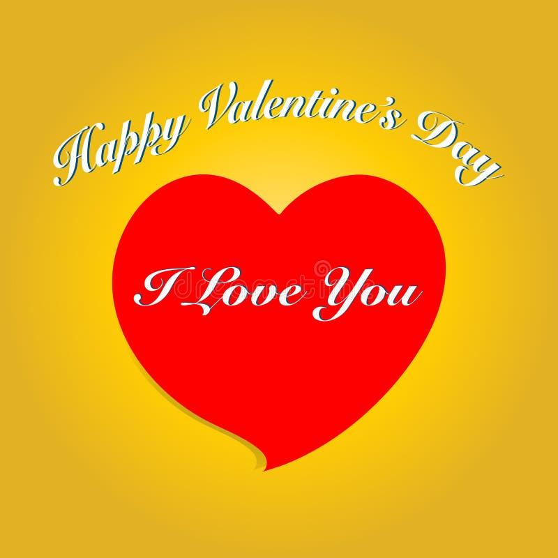 Carte de jour du ` s de Valentine avec le coeur et le texte Illustration de vecteur E illustration stock