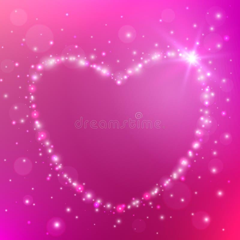 Carte de jour du ` s de Valentine avec le coeur léger Fond d'amour Illustration de vecteur illustration de vecteur