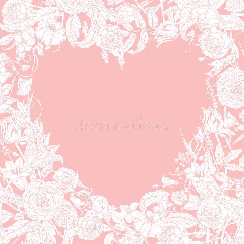 Carte de jour et de mariage de valentines illustration de vecteur
