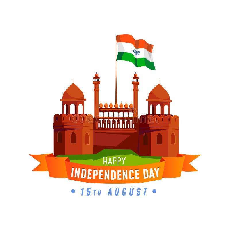 Carte de Jour de la Déclaration d'Indépendance d'Inde d'isolement sur le fond blanc Cartoo illustration libre de droits