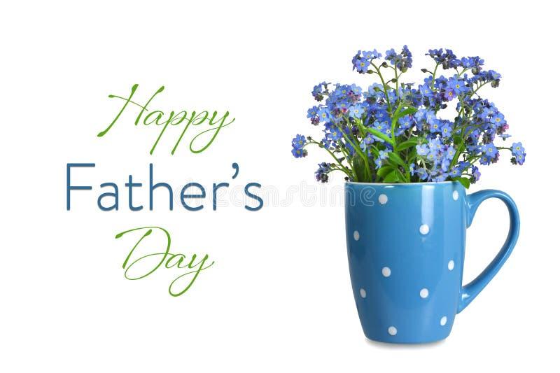 Carte de jour de pères avec des fleurs dans la tasse d'isolement sur le fond blanc illustration stock