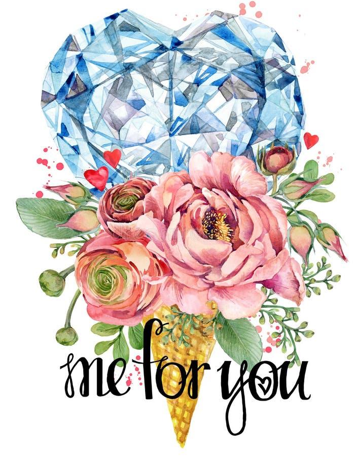 Carte de jour de Valentine Fleur de Rose et illustration rouge de coeur Fond de luxe en cristal de diamant illustration libre de droits