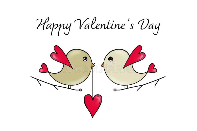Carte de jour de valentines avec des oiseaux d'amour illustration de vecteur