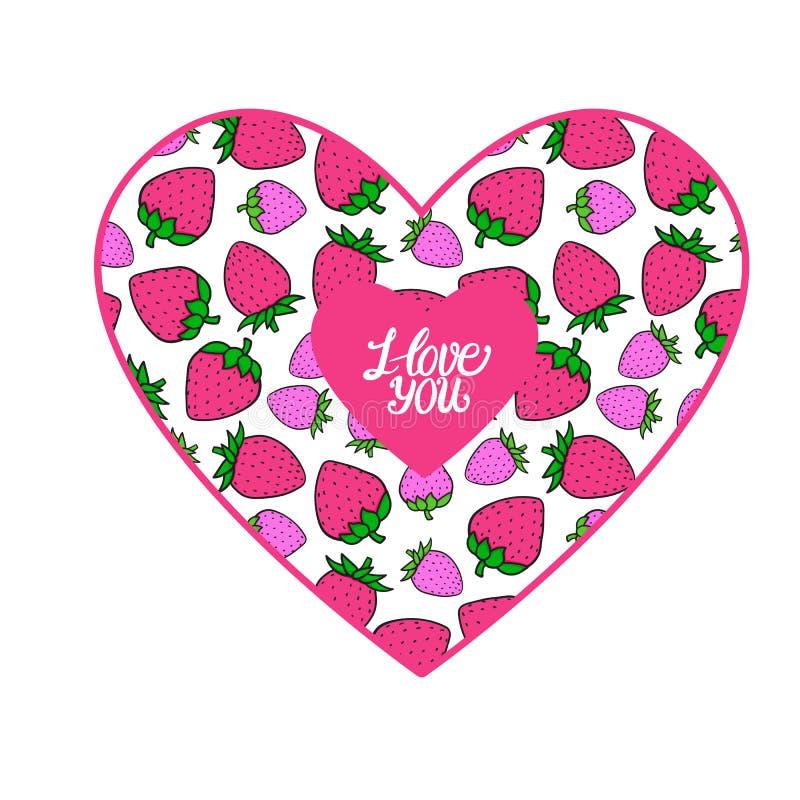 Carte de jour de valentines je t'aime Coeur avec la couleur rose douce de fraise Bo?te aux lettres illustration libre de droits