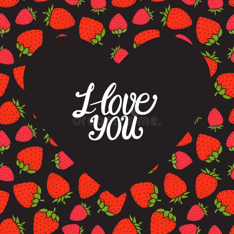 Carte de jour de Valentines Je t'aime inscription sur le coeur foncé Baie rouge douce de fraise Illustration tirée par la main de illustration libre de droits