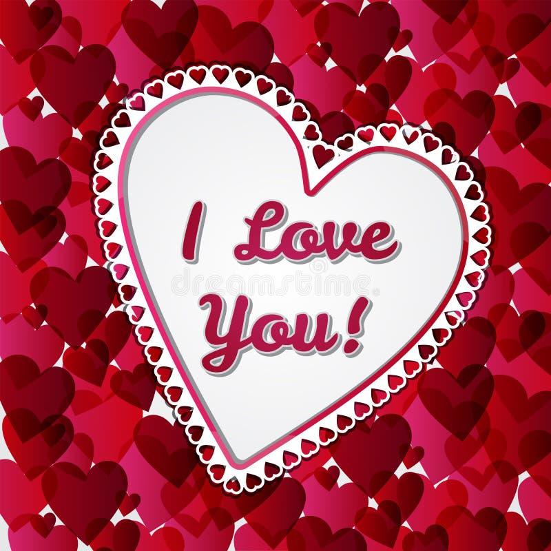 Carte de jours de valentines de salutation avec des coeurs illustration stock