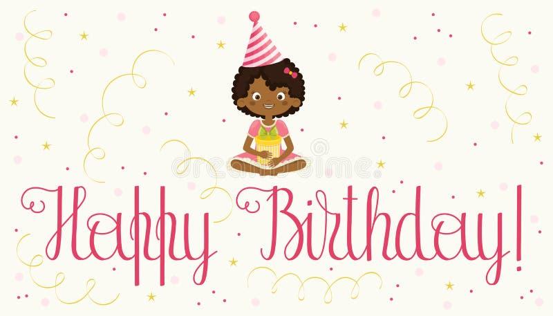 Download Carte De Joyeux Anniversaire Avec La Fille Noire Illustration de Vecteur - Illustration du salutation, anniversaire: 87704463
