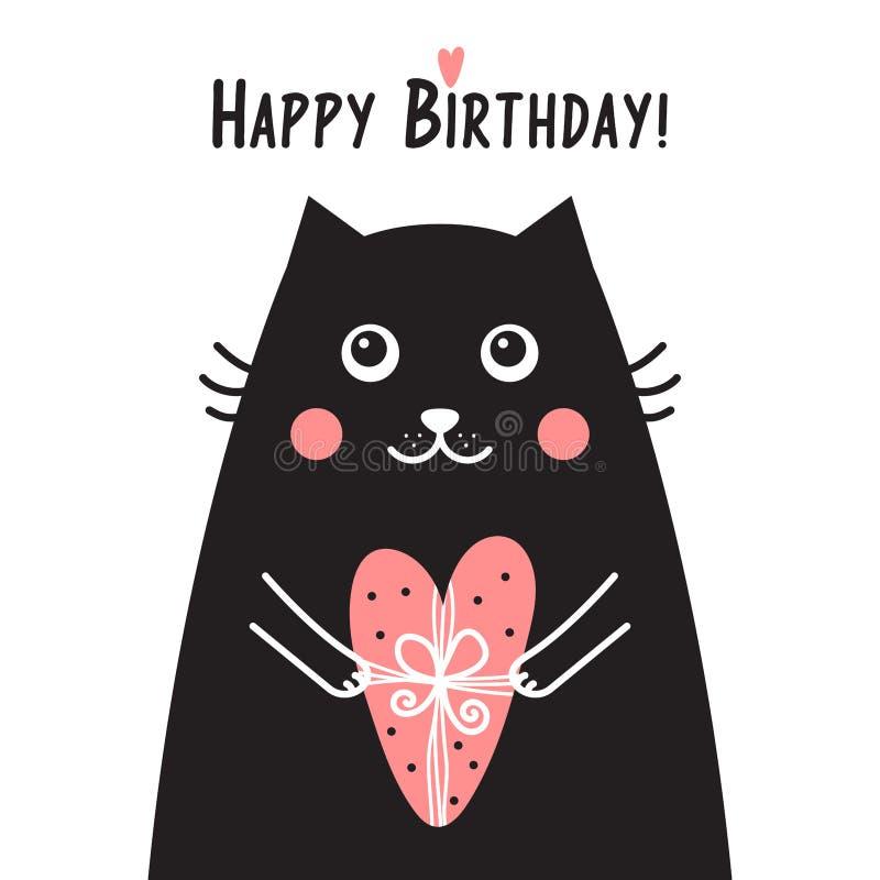 Carte De Joyeux Anniversaire Avec Le Chat Noir Illustration De
