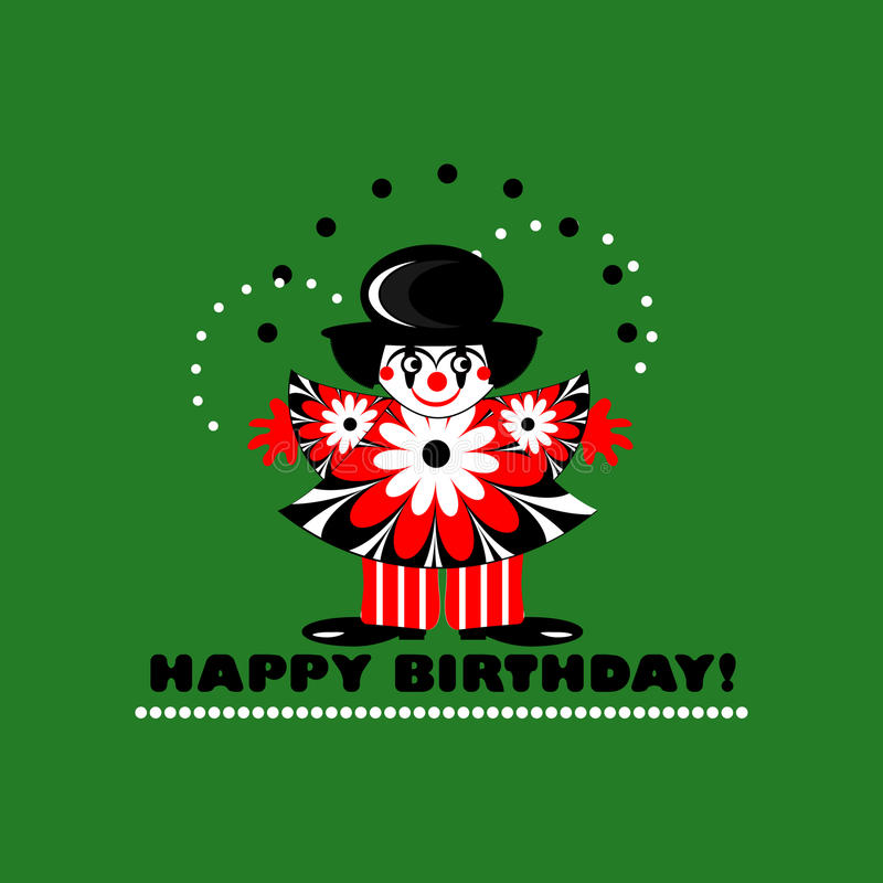 Carte de joyeux anniversaire avec le clown illustration stock