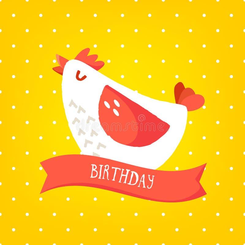 Carte de joyeux anniversaire avec le poulet de bande dessinée et ruban sur le fond jaune dans le point de polka Conception plate  illustration de vecteur