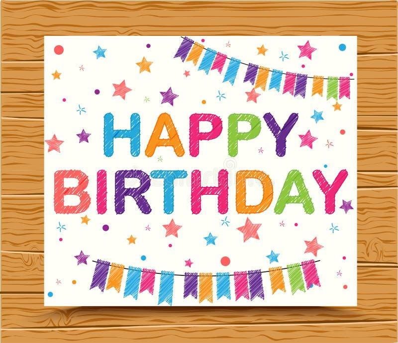 Carte de joyeux anniversaire avec le texte coloré de croquis illustration de vecteur