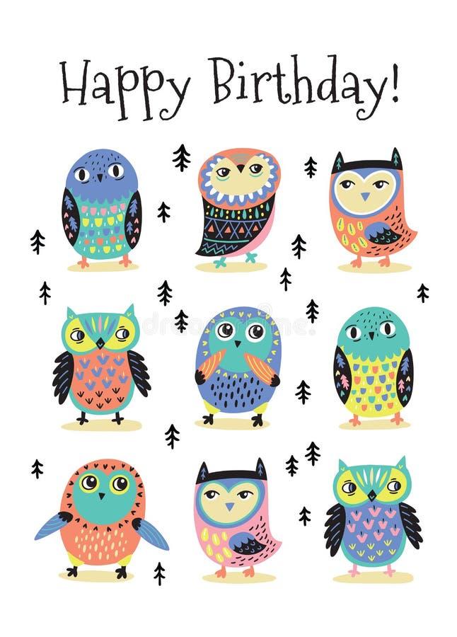 Carte de joyeux anniversaire avec les hiboux colorés de bande dessinée Illustration de vecteur illustration de vecteur